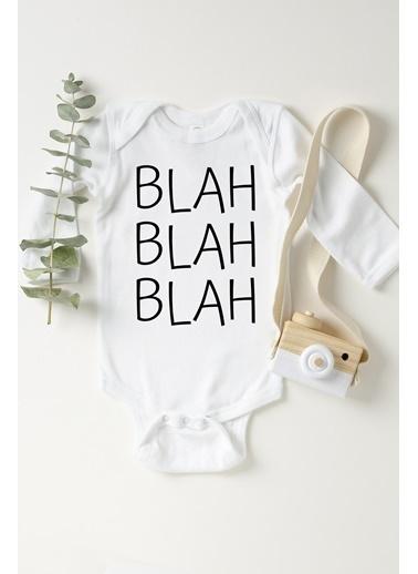Happy Onesie Co BLAH BLAH Çıtçıtlı Bebek Body Beyaz